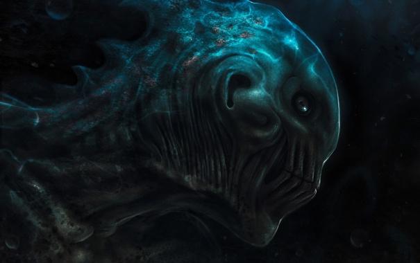 Фото обои море, темно, глубина, чудовище, под водой