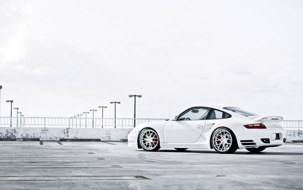 Фото обои белый, 997, Porsche, парковка, white, порше, Turbo