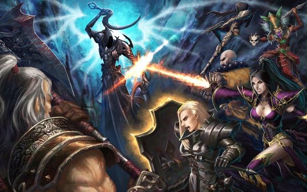Фото обои diablo 3, wizard, demon hunter, monk, crusader, barbarian, witch doctor
