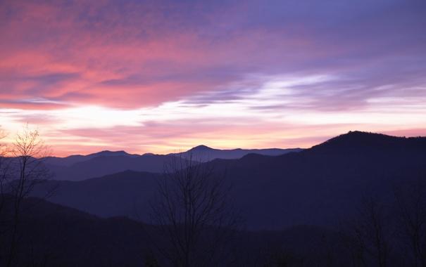 Фото обои горы, вечер, cold mountain