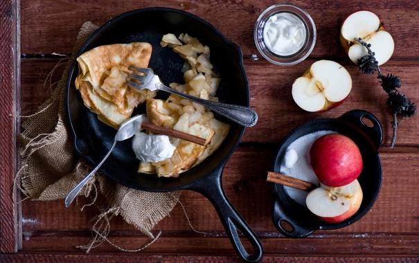 Фото обои яблоки, блины, сметана