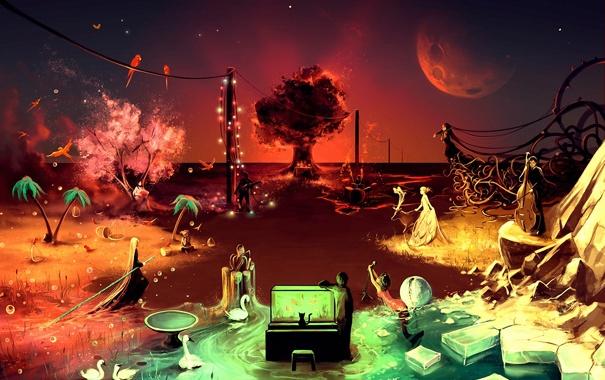 Фото обои ночь, пальмы, люди, фантазия, скрипка, аквариум, арт