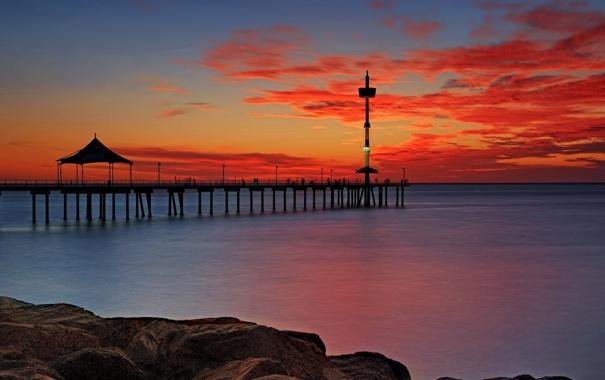 Фото обои море, пейзаж, закат, мост