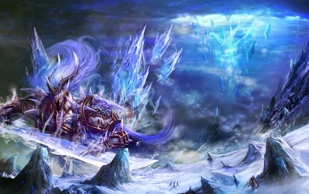 Фото обои скалы, монстр, меч, арт, кристаллы, путник, гигантский