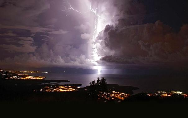 Фото обои море, гроза, ночь, огни, молния, Венесуэла, Кататумбо