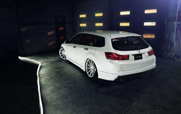 Фото обои тюнинг, белая, white, Honda, хонда, vossen, акура