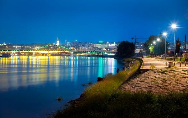 Фото обои ночь, мост, огни, река, дома, фонари, набережная