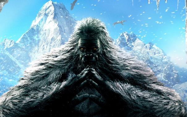 Фото обои Облака, Горы, Взгляд, Снег, Птицы, Мех, Ubisoft