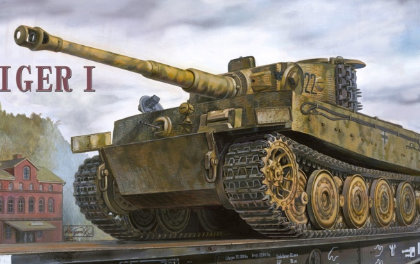 Фото обои Тигр, танк, Tiger, тяжелый танк