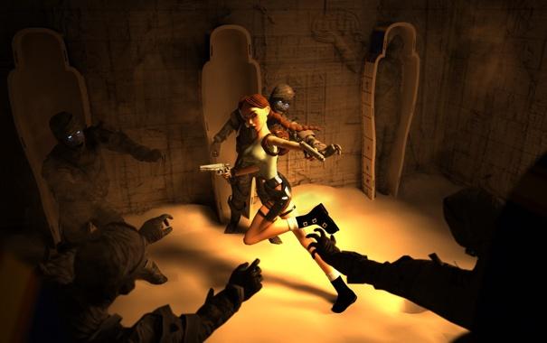 Фото обои девушка, lara croft, tomb raider, мумия, гробница, fan art