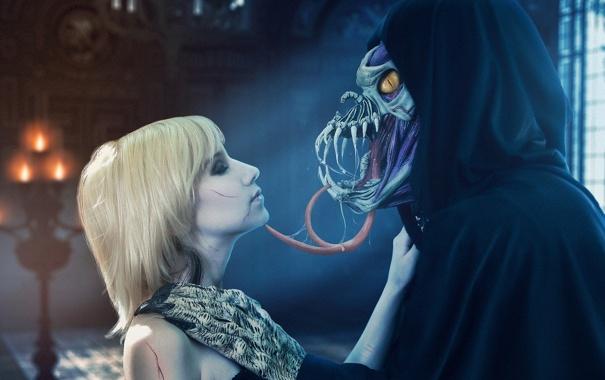 Фото обои язык, девушка, монстр, чудовище, нежить
