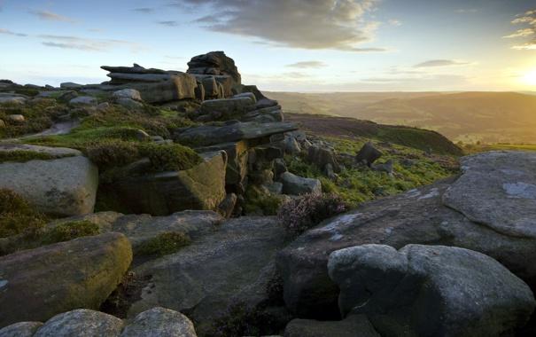 Фото обои закат, природа, камни, гора