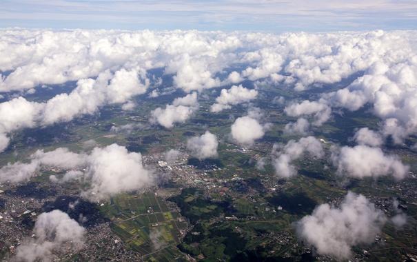 Фото обои облака, дома, вид сверху