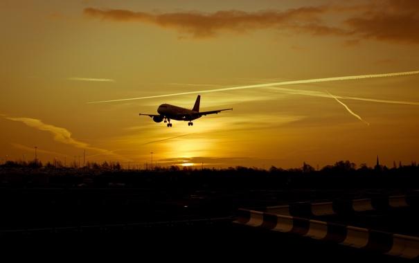 Фото обои авиация, закат, самолёт