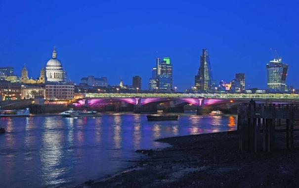 Фото обои ночь, мост, огни, Англия, Лондон, дома, собор