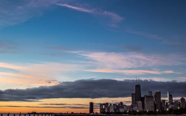 Фото обои город, огни, небоскребы, вечер, Чикаго, Иллиноис, мичиган