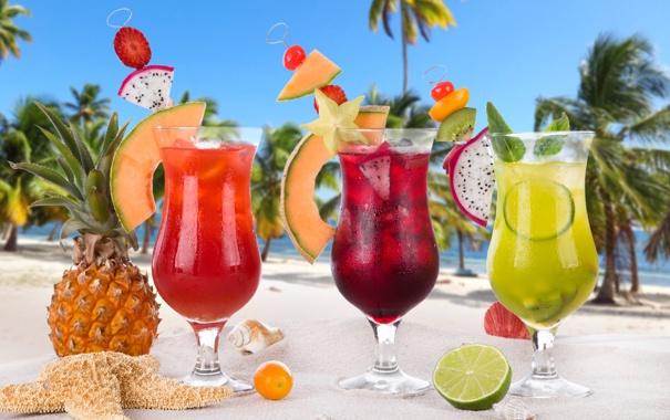 Фото обои beach, fresh, коктейли, sand, fruit, drink, palms