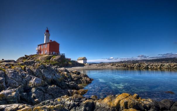 Фото обои море, камни, скалы, берег, маяк