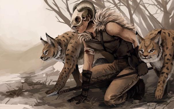 Фото обои череп, хищник, маска, арт, рога, копье, охота