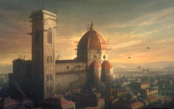 Фото обои птицы, город, стройка, италия, флоренция, санта мария дель фьоре, italy