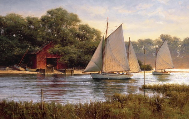 Фото обои озеро, река, лодки, парус, живопись, boat house, By The Old Boat House