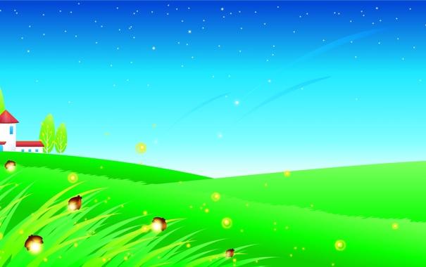 Фото обои трава, деревья, бабочки, светлячки, дома, звёзды