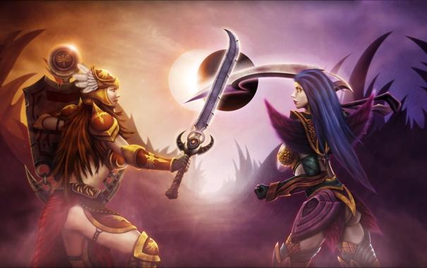 Фото обои оружие, девушки, противостояние, доспехи, затмение, League of Legends, LoL