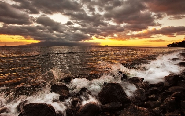 Фото обои море, небо, закат, камни