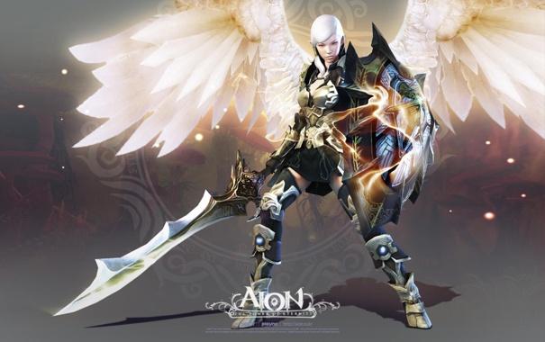Фото обои девушка, меч, щит, Aion