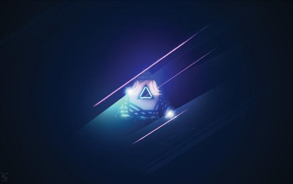 Фото обои цвета, синий, фон, обои, минимализм, треуголдьник, тонна