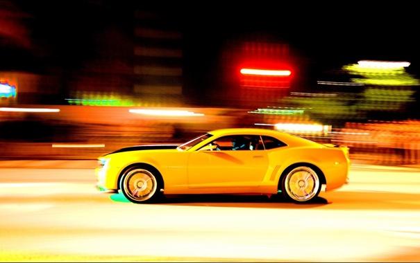 Фото обои желтый, скорость, Камаро, Camaro