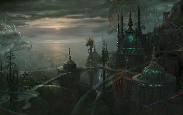 Фото обои город, будущее, дракон, арт, ucchiey, kazamasa uchio, рептилии