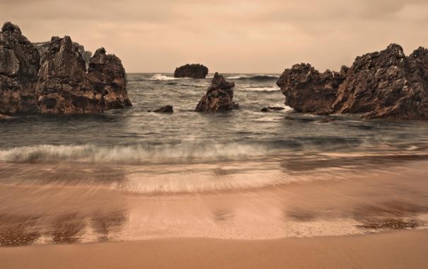 Фото обои море, пляж, скалы