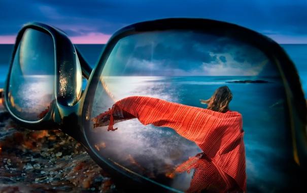 Фото обои девушка, макро, отражение, очки