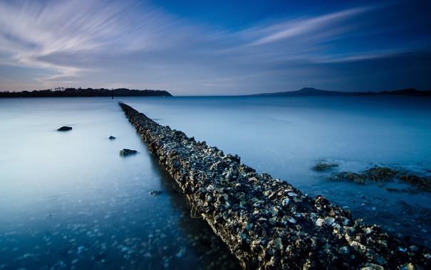 Фото обои море, ночь, мост