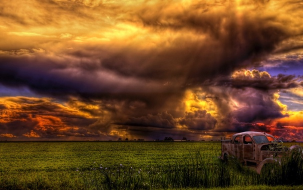 Фото обои поле, небо, пейзаж, тучи