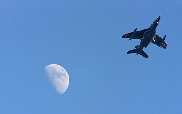 Фото обои небо, луна, самолёт