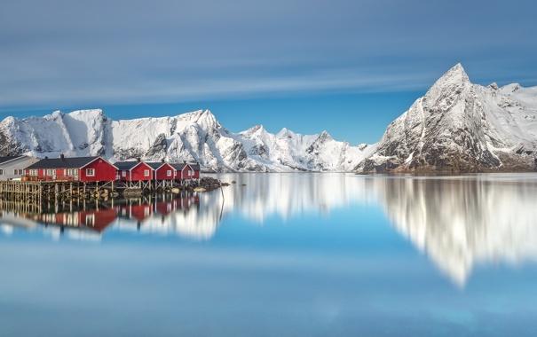 Фото обои небо, снег, пейзаж, горы, берег, побережье, дома