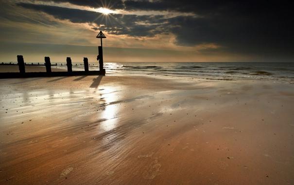 Фото обои море, пейзаж, ночь, берег