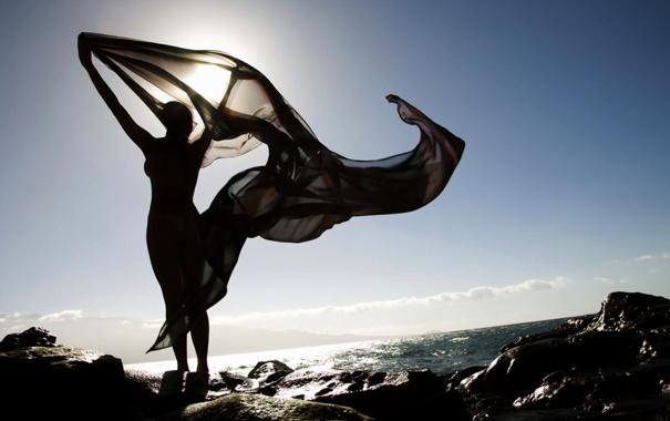 Фото обои море, берег, силуэт, ожидание, накадка