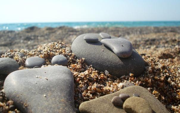 Фото обои песок, море, пляж, лето, камень, след