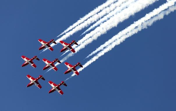 Фото обои праздник, группа, ВВС, пилотажная, CT-114, канадских, Tutor