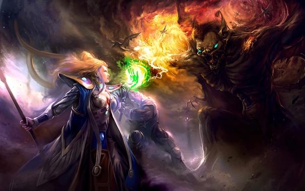 Фото обои девушка, огонь, магия, демон, волшебница, Noah Legend