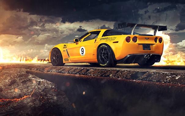 Фото обои Corvette, Chevrolet, Clouds, Fire, Rock, Yellow, Tuning