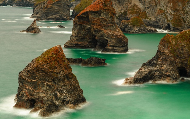 Фото обои море, пейзаж, скалы, берег