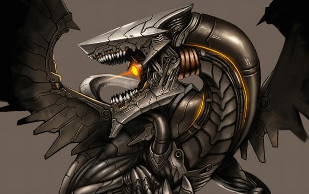 Фото обои light, metal, Dragon, robot, wings, body, head