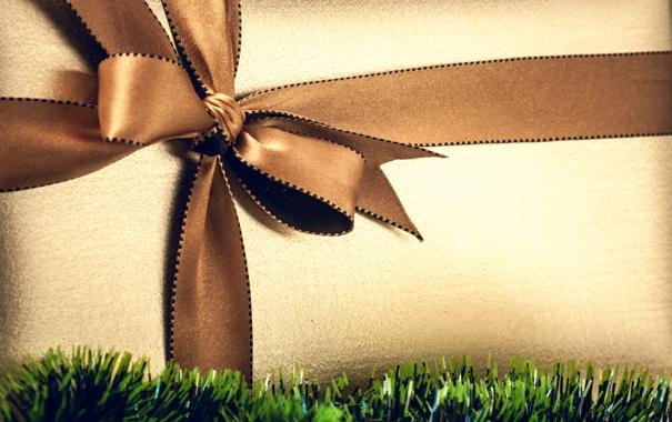 Фото обои коробка, подарок, лента, мишура