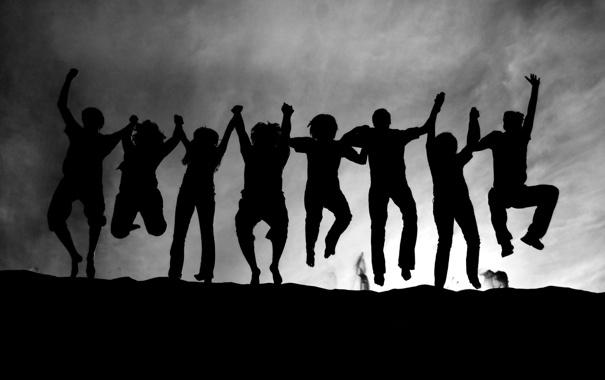 Фото обои радость, прыжок, позитив, Люди, black, jump, joy