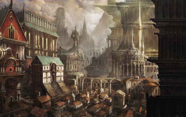 Фото обои город, здания, арт, памятник, постройки