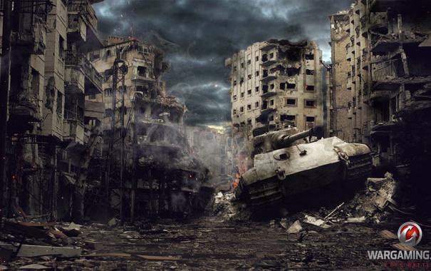 Фото обои дом, Германия, разрушение, танк, танки, Germany, WoT